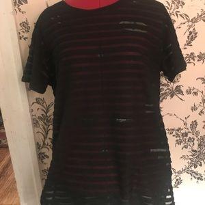 Black Sheer Paneling T-Shirt